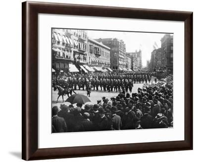 Police Parade Through Streets of New York--Framed Photo