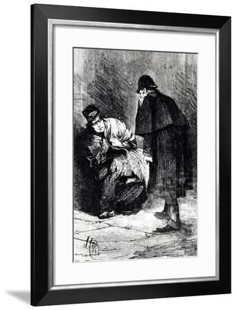 Police Questioning Homeless Person in Course of Investigation for Crimes of Jack Ripper--Framed Giclee Print