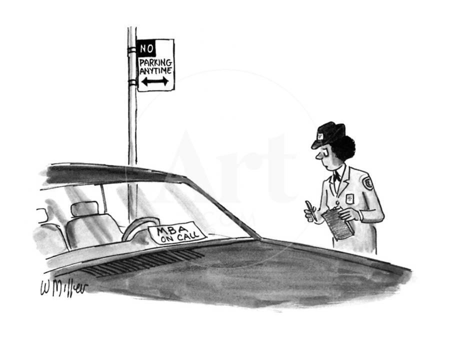 Police woman writing a ticket for illegally parked car sees sign ...