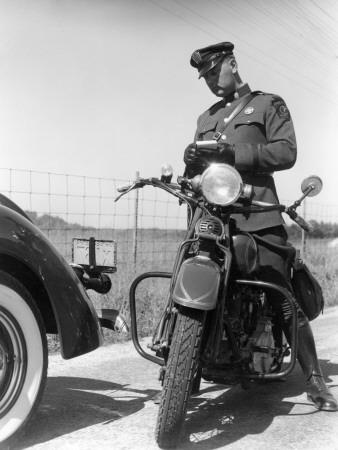 Policeman on a Motorcycle Writing a Ticket-H^ Armstrong Roberts-Photographic Print