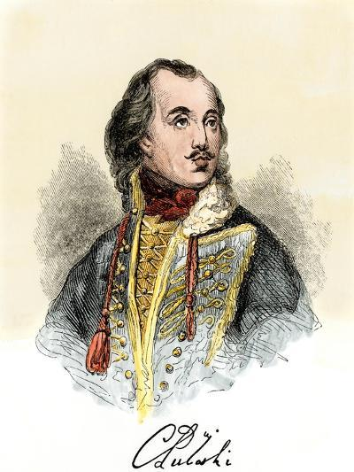 Polish Nobleman Casimir Pulaski, with His Signature--Giclee Print