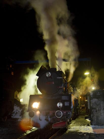 Polish State Railways Steam Locomotive after Bringing in Commuters-Kent Kobersteen-Photographic Print