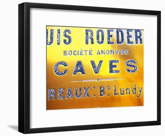 Polished Brass Sign at Winery of Louis Roederer, Reims, Champagne, Marne, Ardennes, France-Per Karlsson-Framed Photographic Print