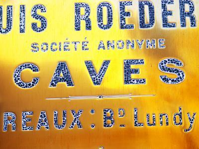 Polished Brass Sign at Winery of Louis Roederer, Reims, Champagne, Marne, Ardennes, France-Per Karlsson-Photographic Print