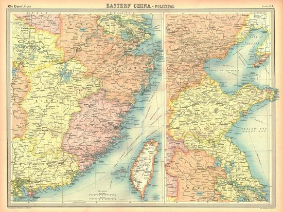 Political map of Eastern China-Unknown-Giclee Print