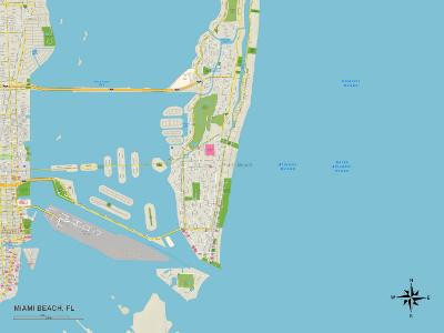 Political Map of Miami Beach, FL--Art Print