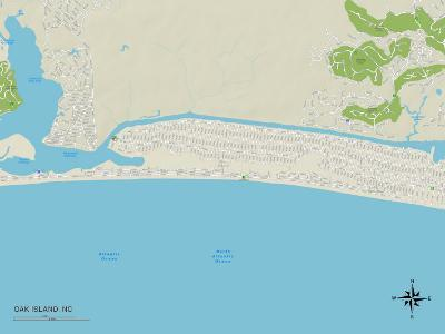 Political Map of Oak Island, NC--Art Print