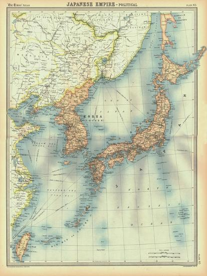 Political map of the Japanese Empire, early 20th century-Unknown-Giclee Print