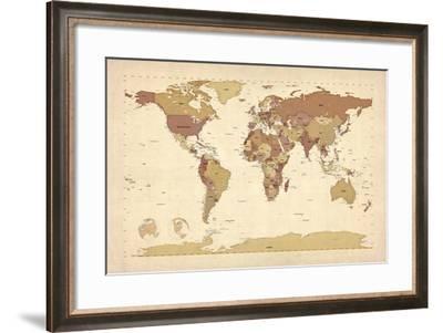 Political Map of the World Map-Michael Tompsett-Framed Art Print