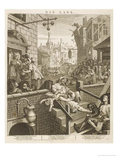 Political Prints Supporting a Ministerial Measure Against the Unlimited Sale of Gin-William Hogarth-Giclee Print