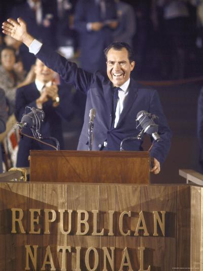 Politician Richard Nixon Waving From Platform at Republican National Convention-John Dominis-Photographic Print