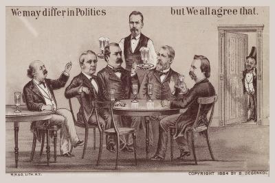 Politicians Enjoying Drinks around the Table-American School-Giclee Print