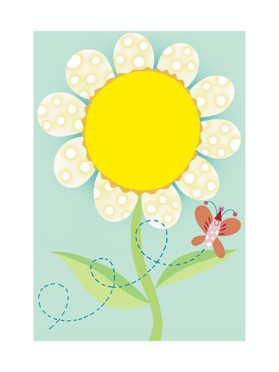 Polka Dot Flower with Butterfly--Art Print