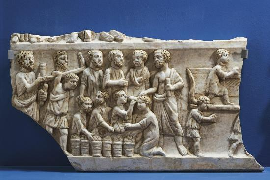 Polychrome Marble Gravestone with Frieze Depicting Scenes from New Testament--Giclee Print