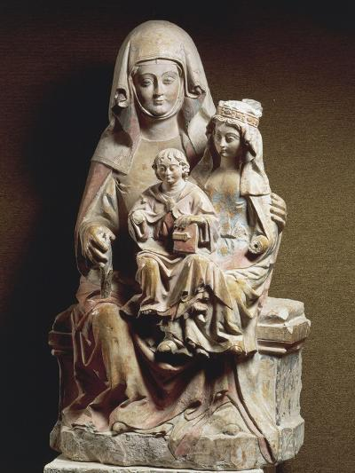 Polychrome Stone Group Sculpture Depicting St Anne--Giclee Print