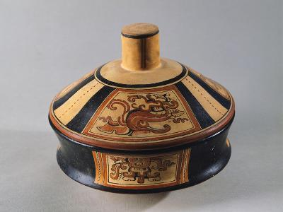 Polychrome Terracotta Container Showing Stylized Motifs Originating from Tikal--Giclee Print