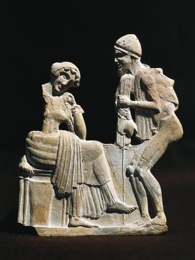 Polychrome Terracotta Relief Depicting Ulysses and Penelope, 450 B.C.--Giclee Print