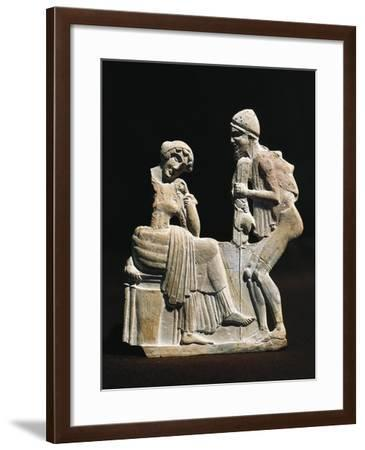 Polychrome Terracotta Relief Depicting Ulysses and Penelope, 450 B.C.--Framed Giclee Print