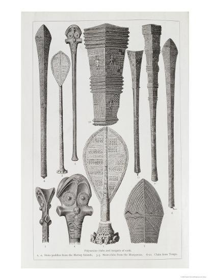 Polynesian Clubs and Insignia of Rank, The History of Mankind, Vol.1, Prof. Friedrich Ratzel, 1896--Giclee Print