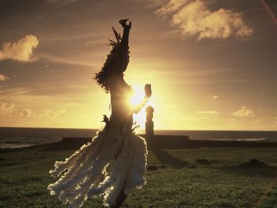 Polynesian Dancer, Ahu Tahai, Easter Island-Angelo Cavalli-Photographic Print