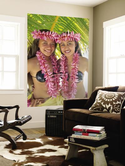 Polynesian Girls in Traditional Costume with Leis, Aitutaki, Cook Islands, Polynesia-Steve Vidler-Wall Mural