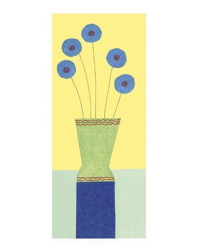 Pom-Pom Cornflowers-Annabel Hewitt-Art Print