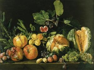 Pomegranates, Melons, Grapes, Peaches, Figs and Other Fruits on a Stone Ledge
