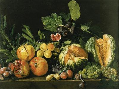 Pomegranates, Melons, Grapes, Peaches, Figs and Other Fruits on a Stone Ledge--Giclee Print