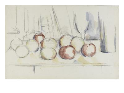 Pommes, verre et bouteille-Paul C?zanne-Giclee Print