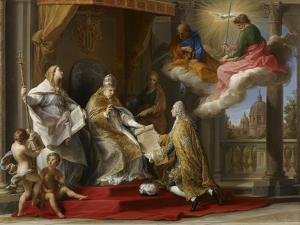 Pope Benedict XIV Presenting the Encyclical 'Ex Omnibus' to the Comte De Stainville by Pompeo Girolamo Batoni