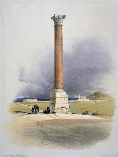 Pompey's Pillar, Alexandria, 19th Century-David Roberts-Giclee Print