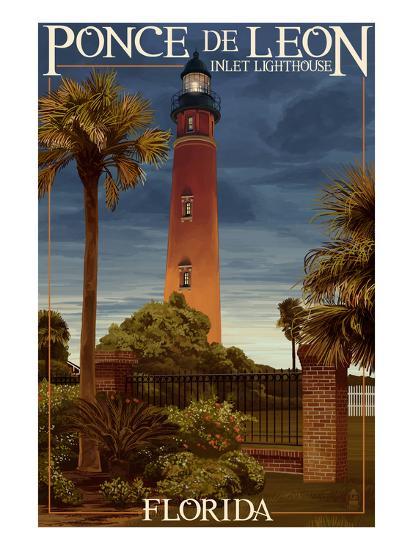 Ponce De Leon Inlet Lighthouse, Florida - Dusk Scene-Lantern Press-Art Print