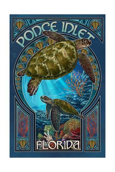Ponce Inlet, Florida - Sea Turtle Art Nouveau-Lantern Press-Art Print