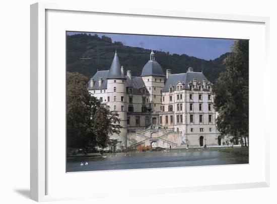 Pond in Front of a Castle, Vizille Castle, Rhone-Alpes, France--Framed Giclee Print