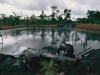 Pond of Waste Oil, and Drums-Steve Winter-Photographic Print