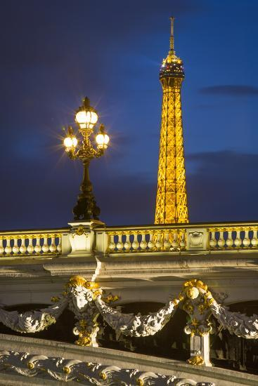Pont Alexandre III with the Eiffel Tower Looming Beyond, Paris France-Brian Jannsen-Photographic Print