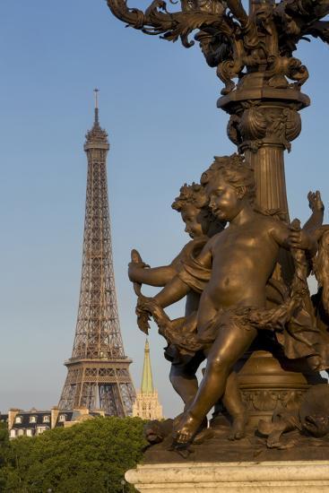 Pont Alexndre III with Eiffel Tower, Paris, France-Brian Jannsen-Photographic Print