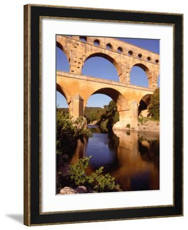 Pont Du Gard from Riverbank, Languedoc-Roussillon, France-Diana Mayfield-Framed Photographic Print