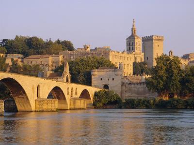 Pont St. Benezet Bridge and Papal Palace, Avignon, Provence, France, Europe-John Miller-Photographic Print