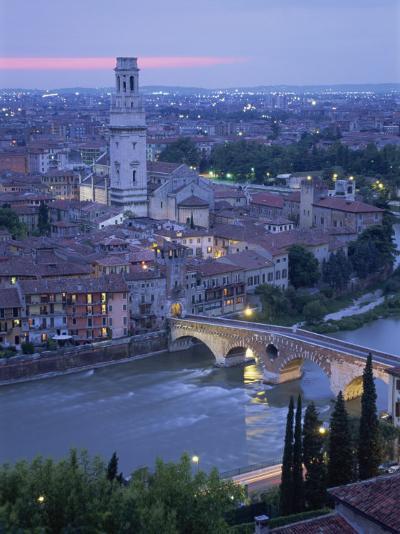 Ponte Pietra and Anastasia Cathedral at Dusk, Verona, Veneto, Italy-Gavin Hellier-Photographic Print