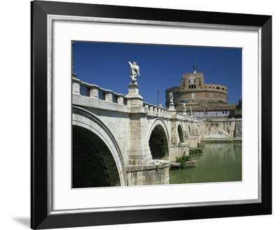Ponte S. Angelo over the River Tevere and Castle in the City of Rome, Lazio, Italy, Europe--Framed Photographic Print