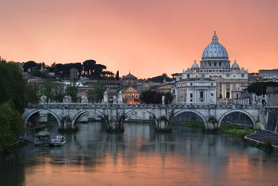 Ponte Sant'Angelo and St. Peter's Basilica at Sunset, Vatican City, Rome-David Clapp-Photographic Print