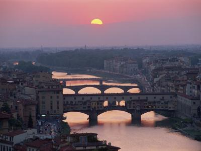 Ponte Vecchio and Other Bridges over the River Arno, Florence, Tuscany, Italy-Gavin Hellier-Photographic Print