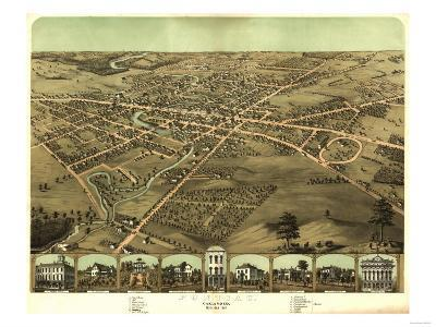 Pontiac, Michigan - Panoramic Map-Lantern Press-Art Print