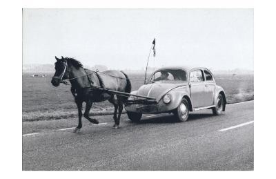 Pony Pulling Volkswagon, France--Art Print