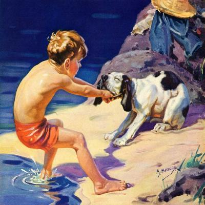 """Pooch Doesn't Want to Swim,""September 1, 1934-Henry Hintermeister-Giclee Print"