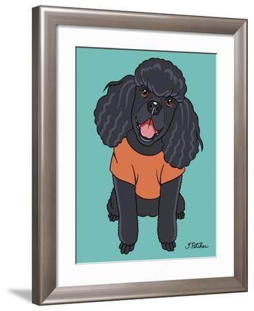 Poodle Black-Tomoyo Pitcher-Framed Giclee Print