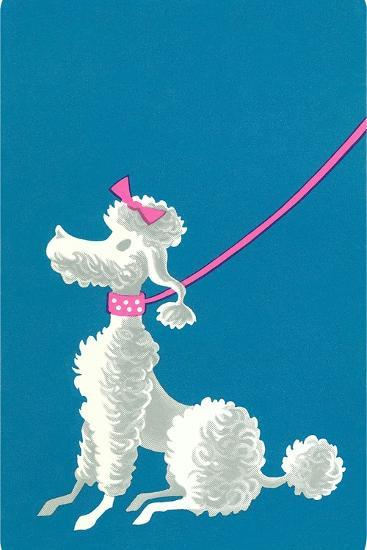 Poodle with Pink Leash--Art Print