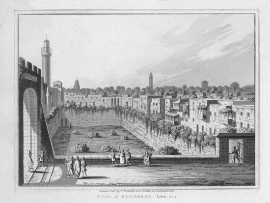 'Pool of Bethesda. John. 5. 2.', 1830-J Clarke-Giclee Print