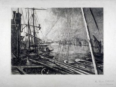 Pool of London from Rotherhithe, with Ships in the Foreground, C1890-Edwin Edwards-Giclee Print